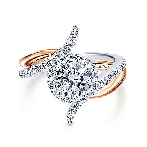 Gabriel - Andromeda 18k White And Rose Gold Round Halo Engagement Ring