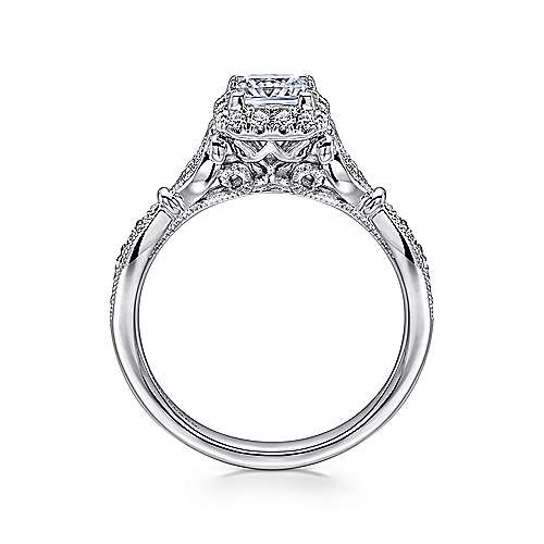 Angel 14k White Gold Princess Cut Halo Engagement Ring angle 2