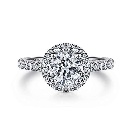 Gabriel - Angela 14k White Gold Round Halo Engagement Ring