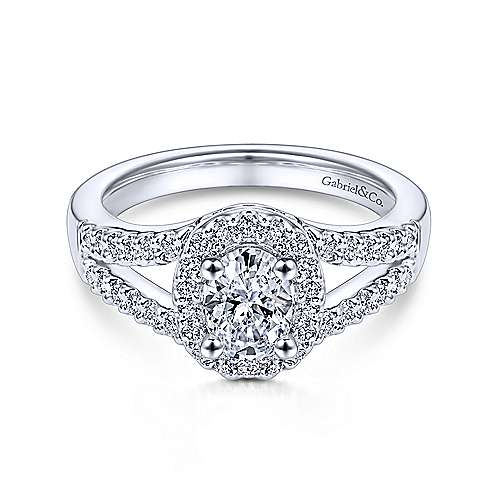 Angelene 14k White Gold Oval Halo Engagement Ring angle 1
