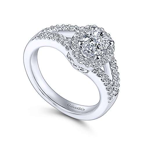Angelene 14k White Gold Oval Halo Engagement Ring angle 3