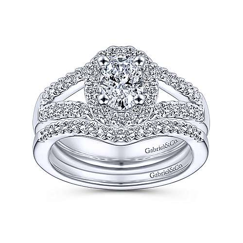 Angelene 14k White Gold Oval Halo Engagement Ring angle 4