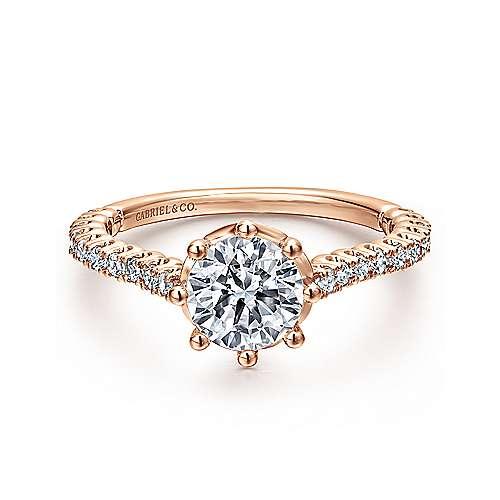 Gabriel - Angelina 14k Rose Gold Round Straight Engagement Ring