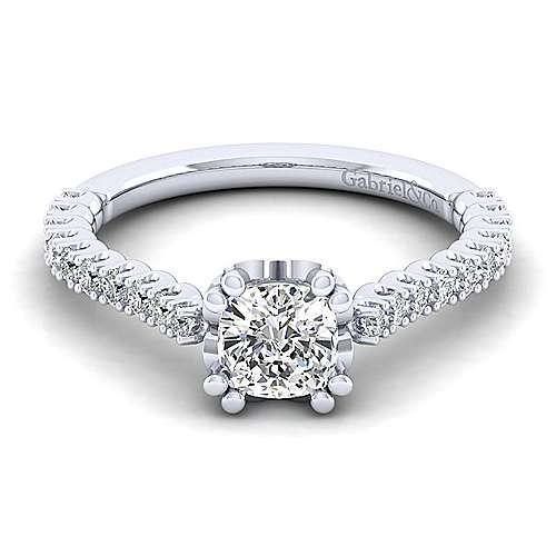 Gabriel - Angelina 14k White Gold Cushion Cut Straight Engagement Ring