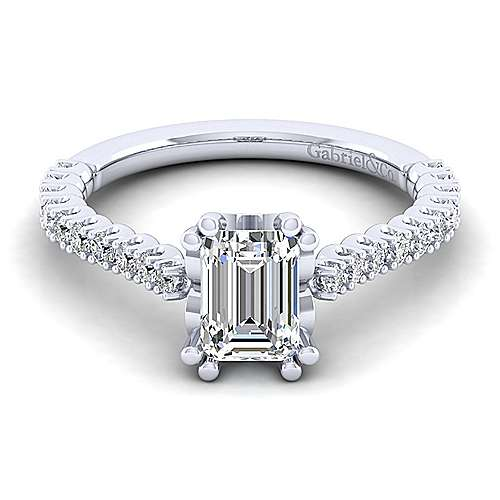 Gabriel - Angelina 14k White Gold Emerald Cut Straight Engagement Ring