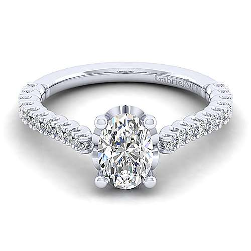 Gabriel - Angelina 14k White Gold Oval Straight Engagement Ring