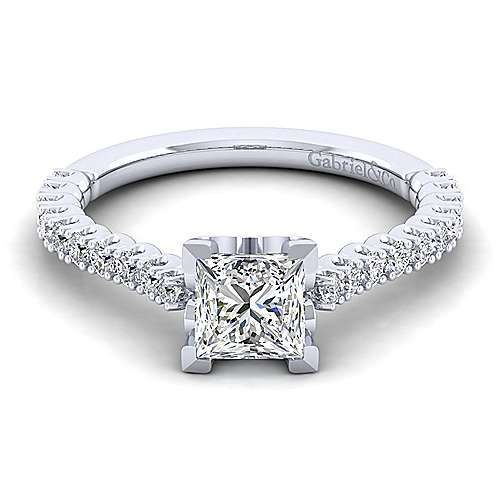 Gabriel - Angelina 14k White Gold Princess Cut Straight Engagement Ring