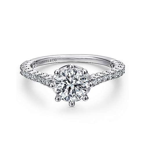 Gabriel - Angelina 14k White Gold Round Straight Engagement Ring
