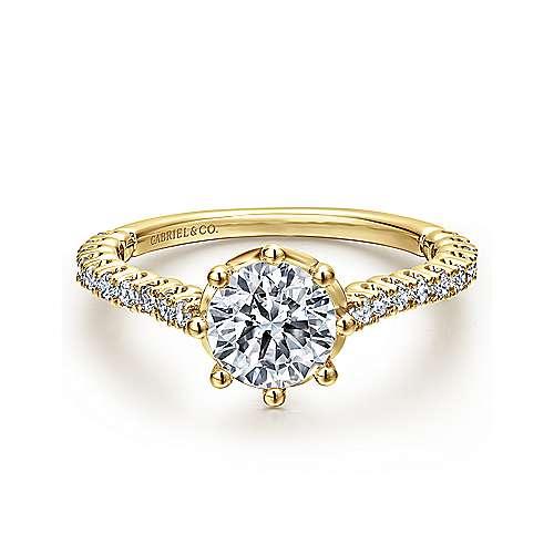 Gabriel - Angelina 14k Yellow Gold Round Straight Engagement Ring
