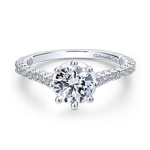 Gabriel - Angelina 18k White Gold Round Straight Engagement Ring