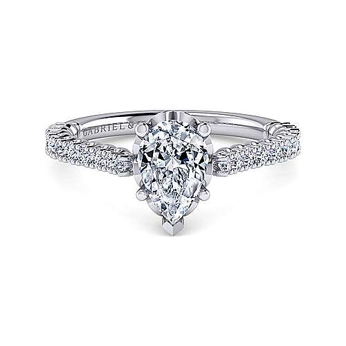 Angelina Platinum Pear Shape Straight Engagement Ring