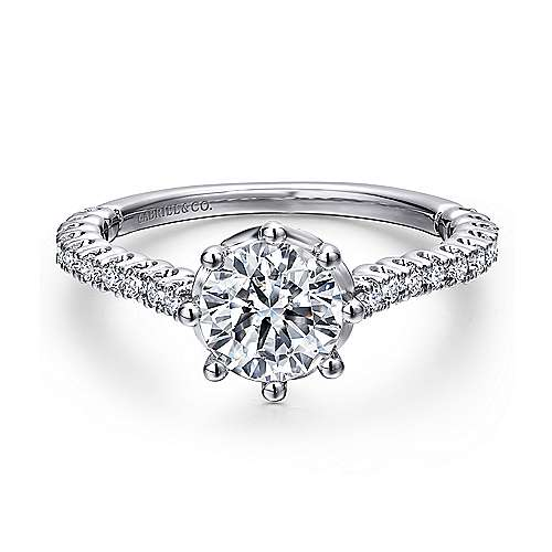 Gabriel - Angelina Platinum Round Straight Engagement Ring