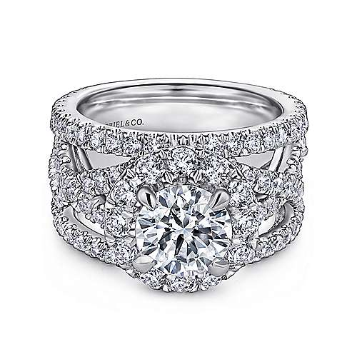 Gabriel - Angelou 18k White Gold Round Halo Engagement Ring