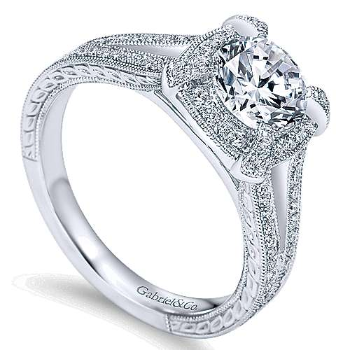 Angie 14k White Gold Round Halo Engagement Ring
