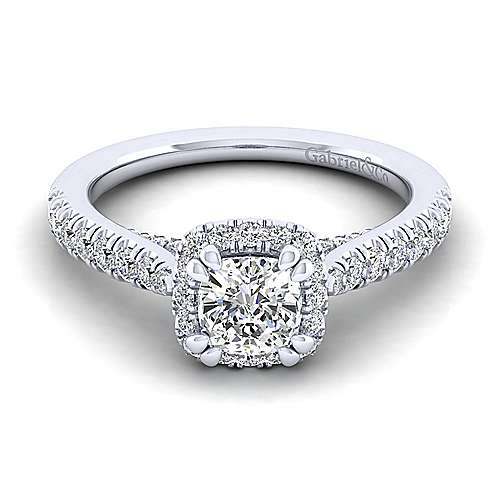 Gabriel - Anise 14k White Gold Cushion Cut Halo Engagement Ring