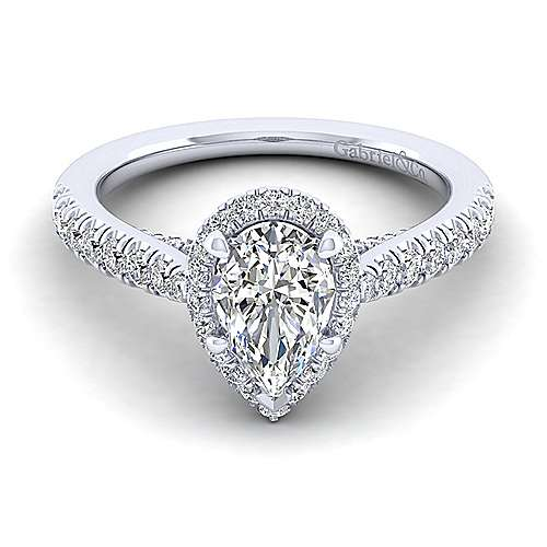 Gabriel - Anise 14k White Gold Pear Shape Halo Engagement Ring