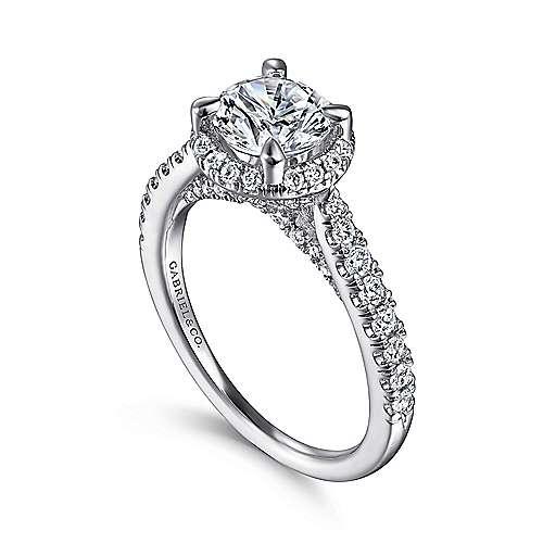 Anise 14k White Gold Round Halo Engagement Ring