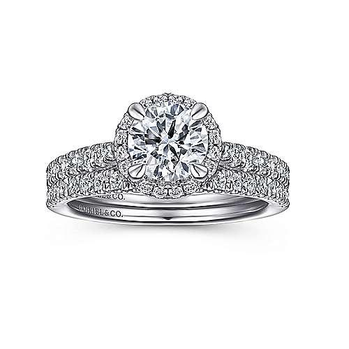 Anise 14k White Gold Round Halo Engagement Ring angle 4