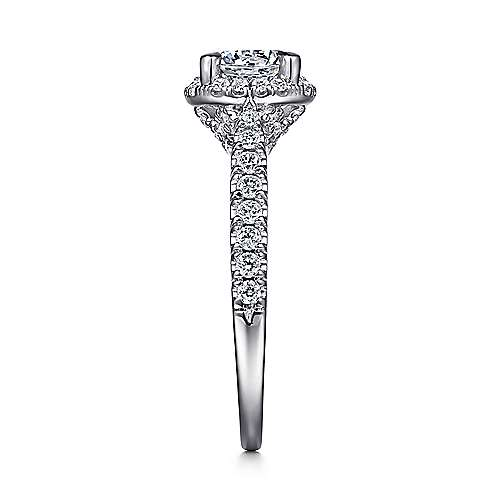 Anise 14k White Gold Round Halo Engagement Ring angle 5