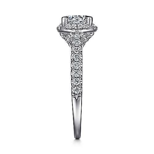 Anise 14k White Gold Round Halo Engagement Ring angle 5