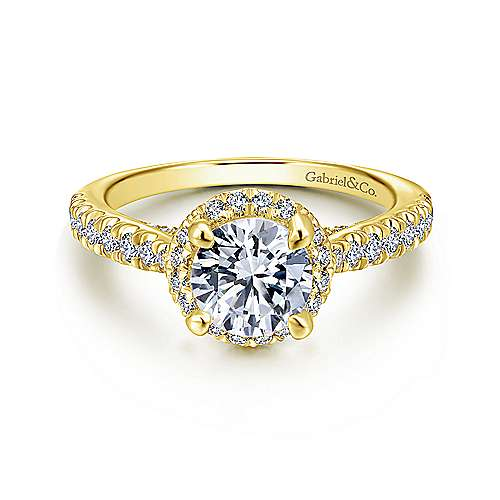 Gabriel - Anise 14k Yellow Gold Round Halo Engagement Ring