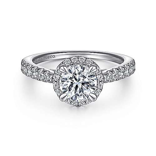 Gabriel - Anise Platinum Round Halo Engagement Ring