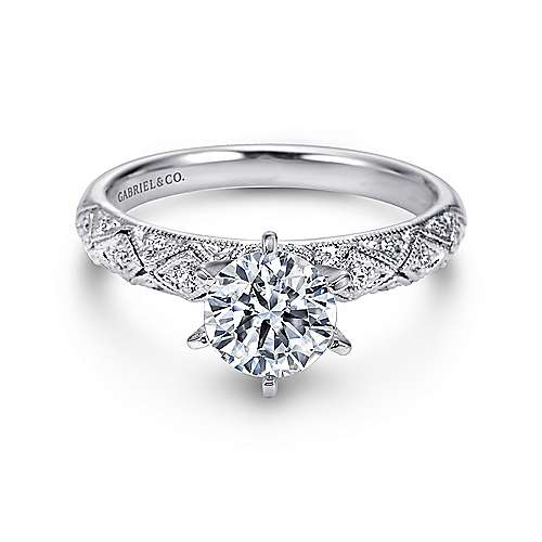Anna 14k White Gold Round Straight Engagement Ring angle 1