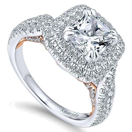 Annabella 18k White And Rose Gold Cushion Cut Double Halo Engagement Ring angle 3