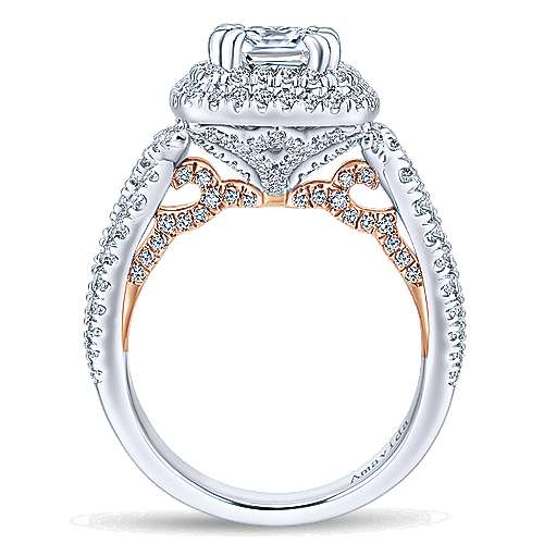 Annabella 18k White/pink Gold Cushion Cut Double Halo Engagement Ring angle 2