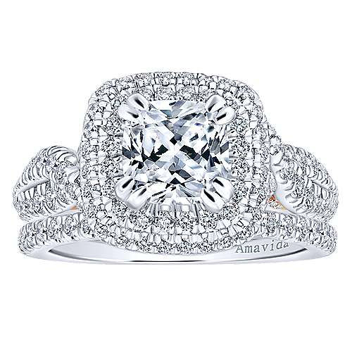 Annabella 18k White/pink Gold Cushion Cut Double Halo Engagement Ring angle 4