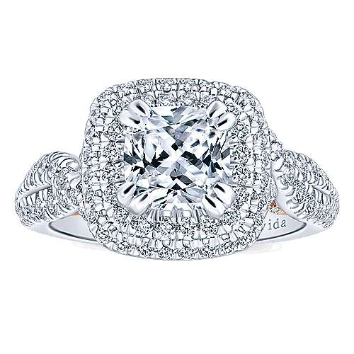 Annabella 18k White/pink Gold Cushion Cut Double Halo Engagement Ring angle 5