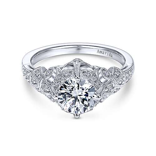 Gabriel - Annabeth Platinum Round Straight Engagement Ring
