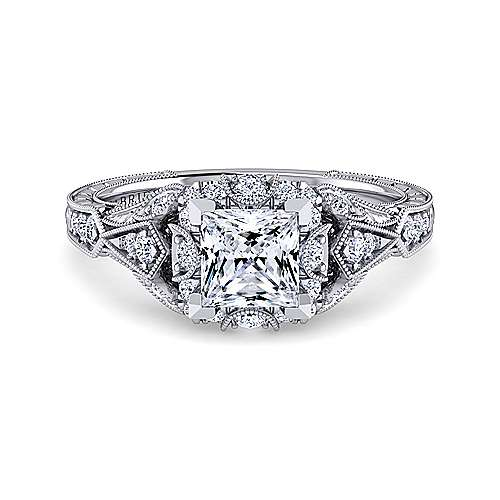 Gabriel - Annadale 14k White Gold Princess Cut Halo Engagement Ring