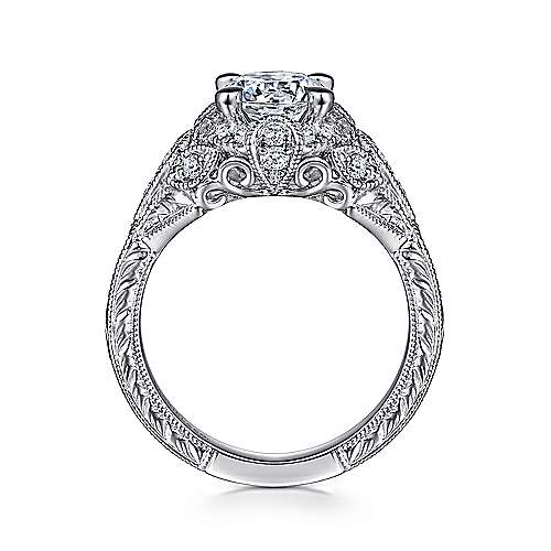 Annadale 14k White Gold Round Halo Engagement Ring angle 2
