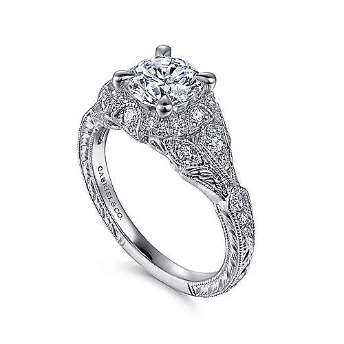 Annadale 14k White Gold Round Halo Engagement Ring angle 3