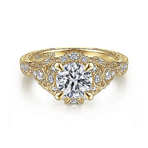 Gabriel - Annadale 14k Yellow Gold Round Halo Engagement Ring