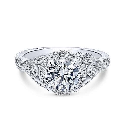 Gabriel - Annadale 18k White Gold Round Halo Engagement Ring