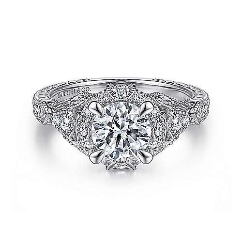 Gabriel - Annadale Platinum Round Halo Engagement Ring
