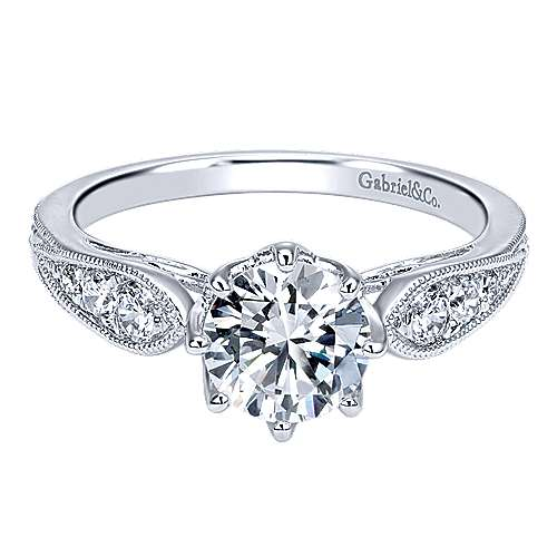 Gabriel - Annette 14k White Gold Round Straight Engagement Ring