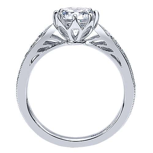 Annette 14k White Gold Round Straight Engagement Ring angle 2