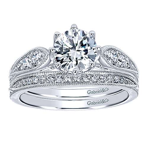 Annette 14k White Gold Round Straight Engagement Ring angle 4