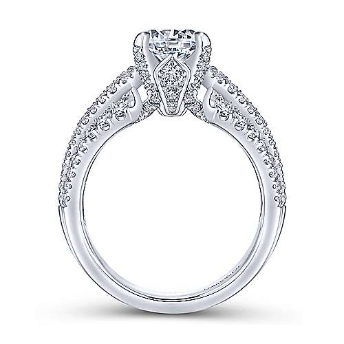 Annie 18k White Gold Round Straight Engagement Ring angle 2