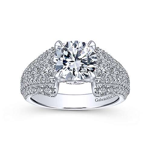 Annie 18k White Gold Round Straight Engagement Ring angle 5