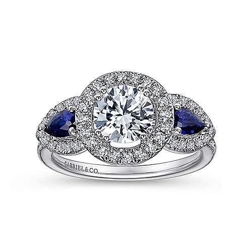 Anselma 14k White Gold Round 3 Stones Halo Engagement Ring angle 5