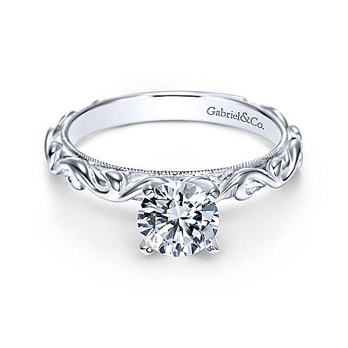 Gabriel - Anthea 14k White Gold Round Straight Engagement Ring