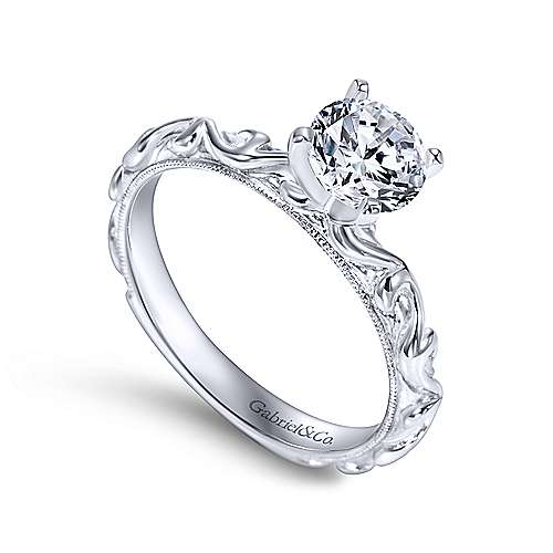 Anthea 14k White Gold Round Straight Engagement Ring angle 3