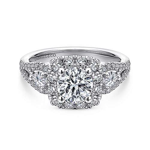 Gabriel - Anthos 14k White Gold Round Halo Engagement Ring