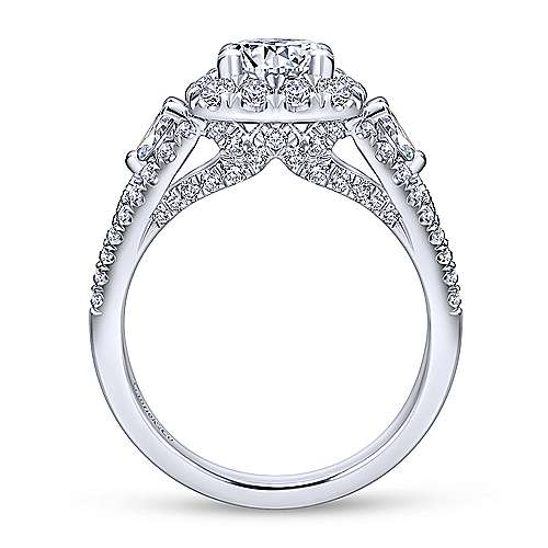 Anthos 14k White Gold Round Halo Engagement Ring angle 2