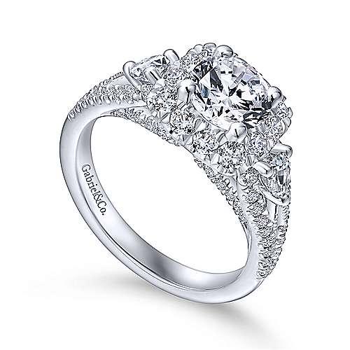 Anthos 14k White Gold Round Halo Engagement Ring