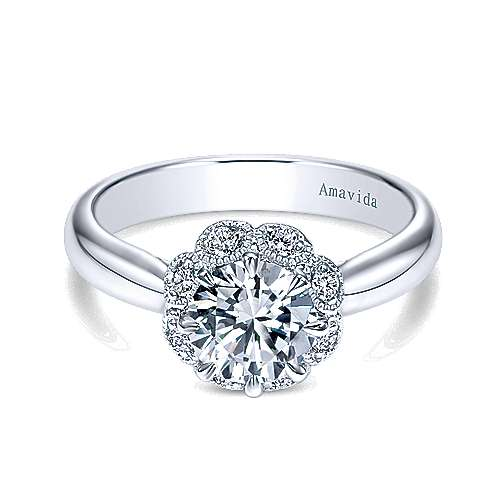 Gabriel - Antigua 18k White Gold Round Halo Engagement Ring